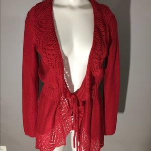 Elle Red Sweater With Lace edges and Tie Front XS